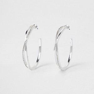 Silver tone twist pave hoop earrings