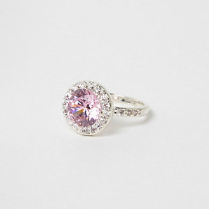 Pink diamante jewel silver tone ring