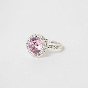 Pink rhinestone jewel silver tone ring