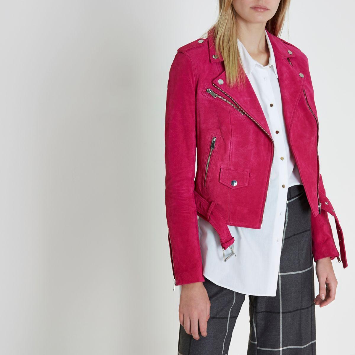 Bright pink suede biker jacket