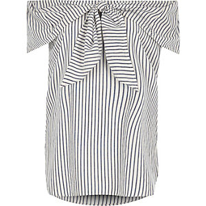 Navy stripe knot front bardot top