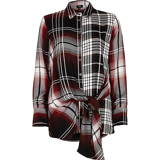 Red mix check print tie front shirt