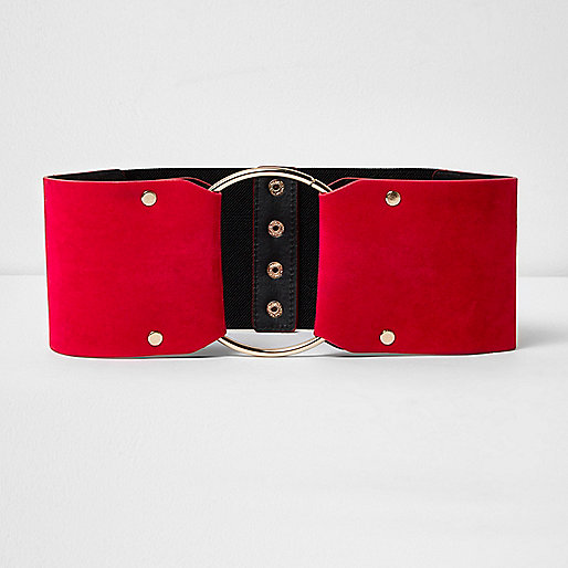 Red large ring wide waist belt
