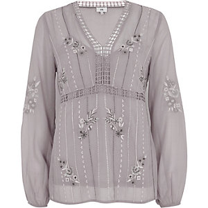 Grey floral embroidered long sleeve top