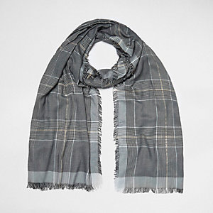 Grey metallic check scarf