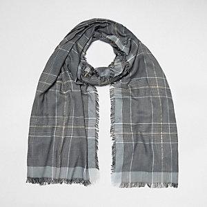 Grey metallic check scarf