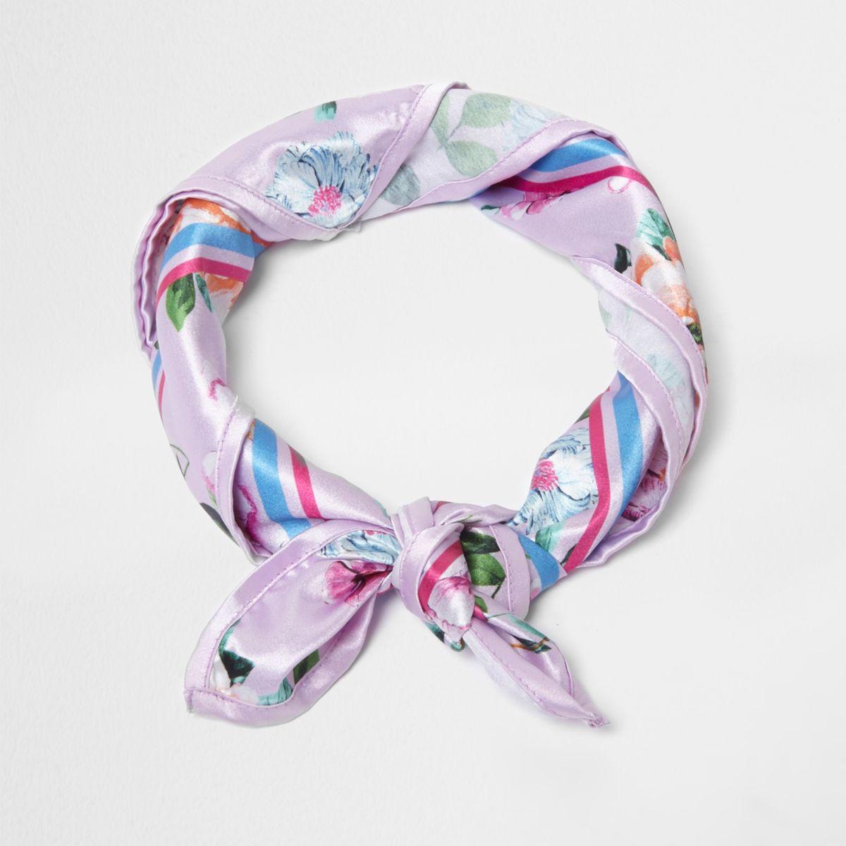 Lilac floral print satin square scarf