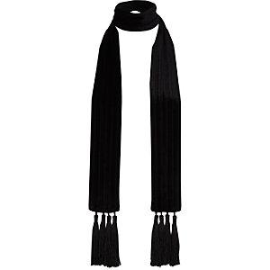 Zwarte fluwelen smalle sjaal met kwastjes