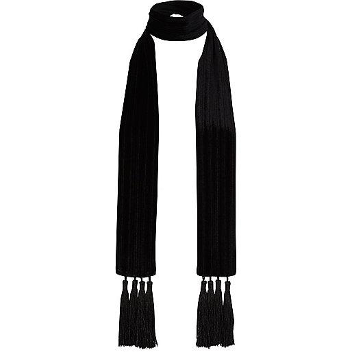 Black velvet tassel skinny scarf