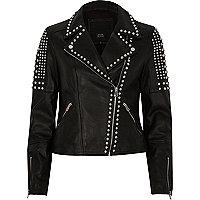 Black studded leather biker jacket