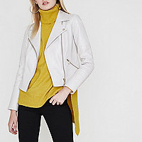 Cream quilted leather biker jacket