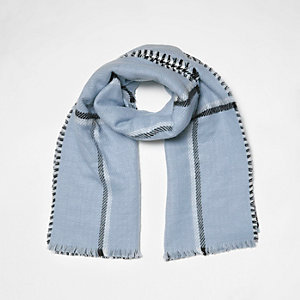 Écharpe réversible à carreaux bleue