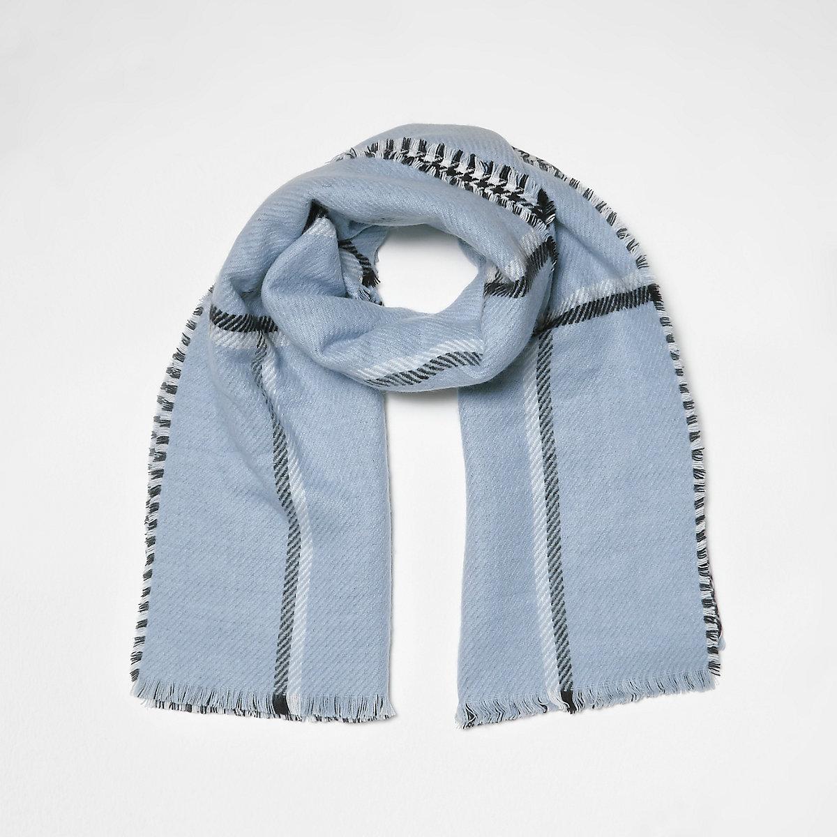 Blauwe geruite tweezijdige sjaal