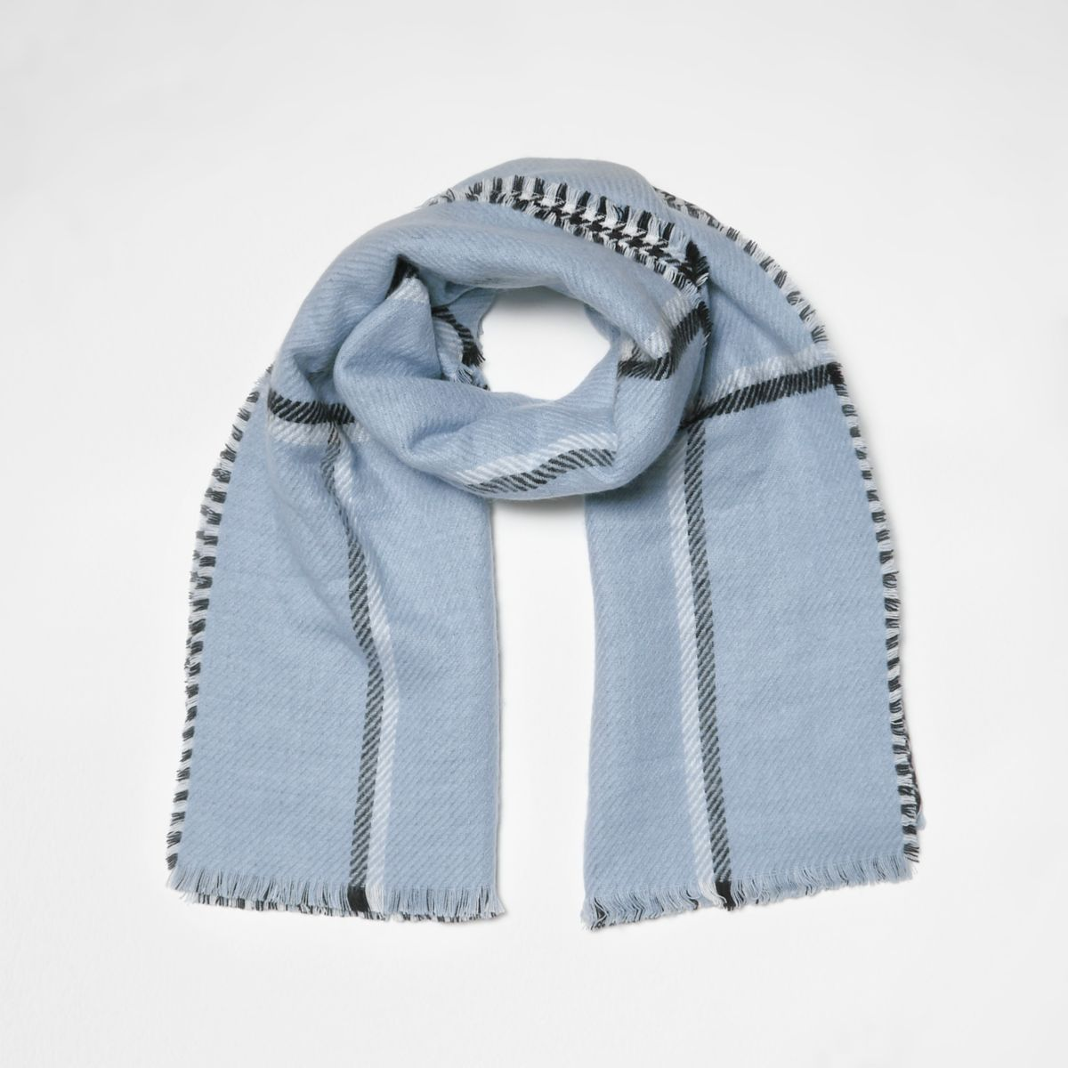 Blue check double-sided scarf