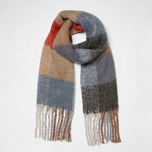 Beige color block check blanket scarf