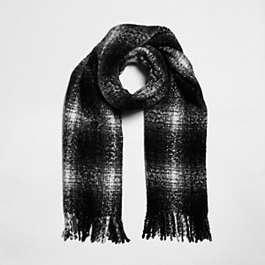 Black shadow check scarf