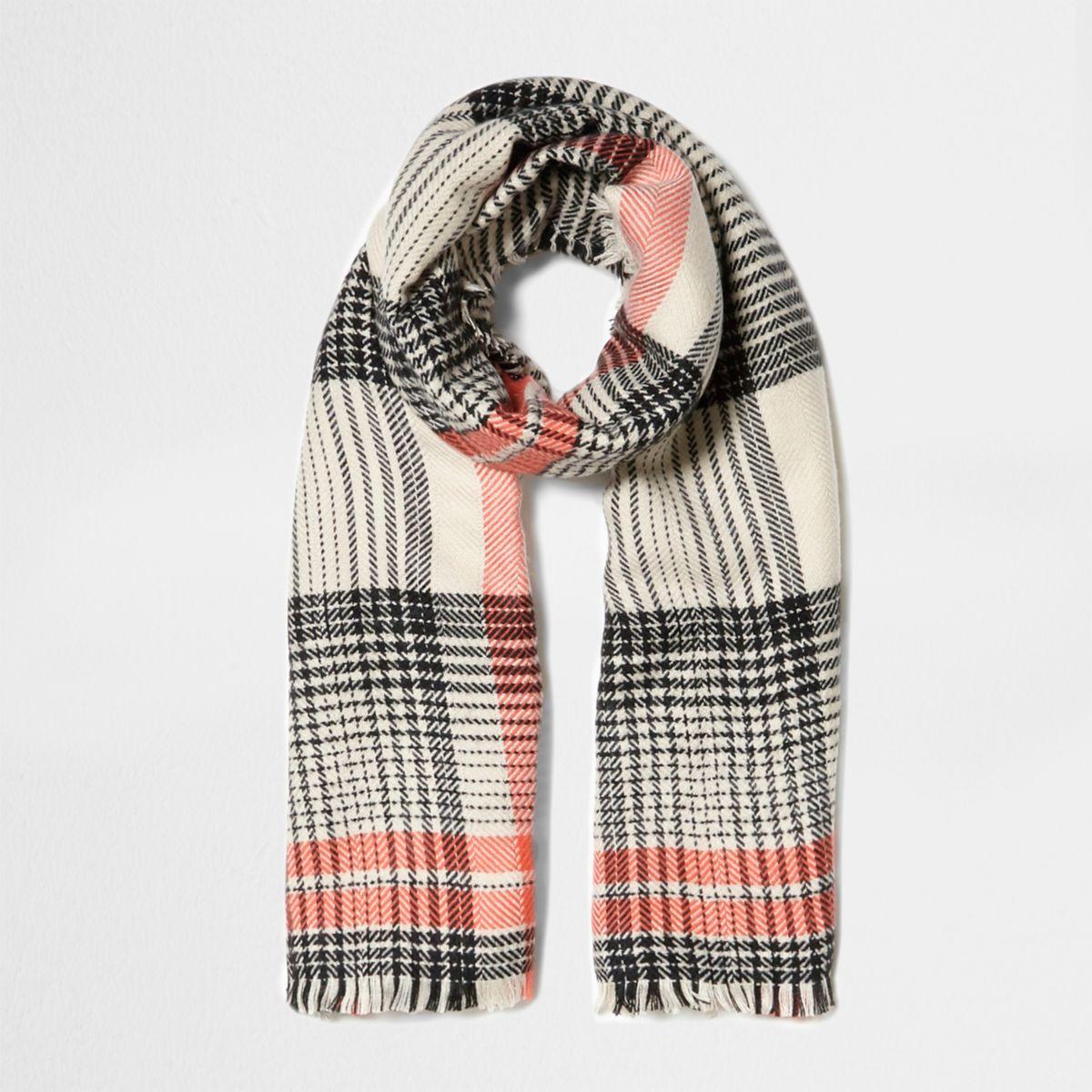 Orange check scarf
