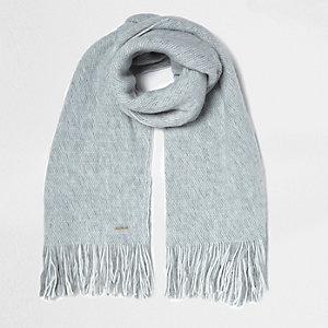 Écharpe façon couverture grise texturée
