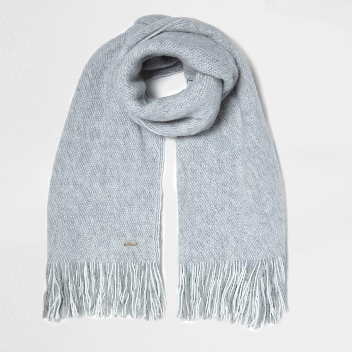 Grey textured blanket scarf