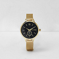 Gold tone mesh round face watch