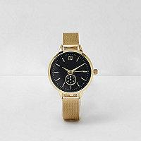 Goudkleurig horloge met ronde wijzerplaat en mesh bandje