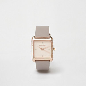 Plus grey square rose gold diamante watch