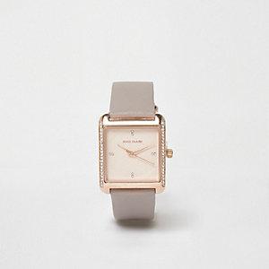 RI Plus - Vierkant roségouden horloge met stras en grijs bandje