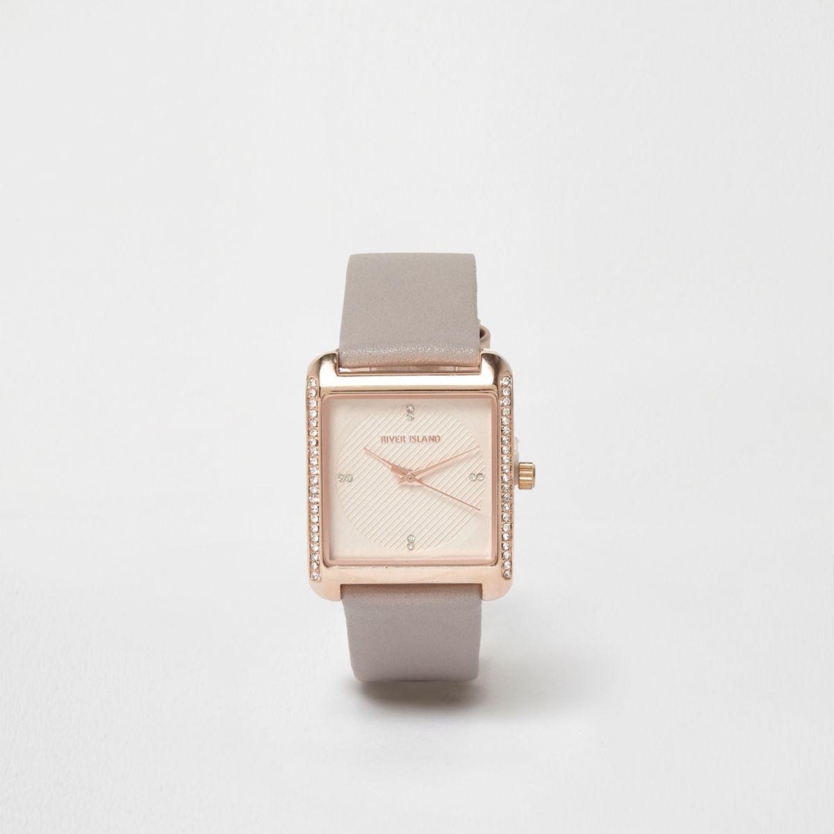 Plus grey square rose gold rhinestone watch