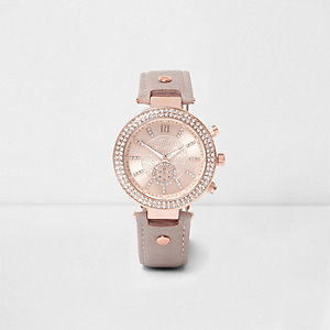 Plus grey and rose gold tone rhinestone watch