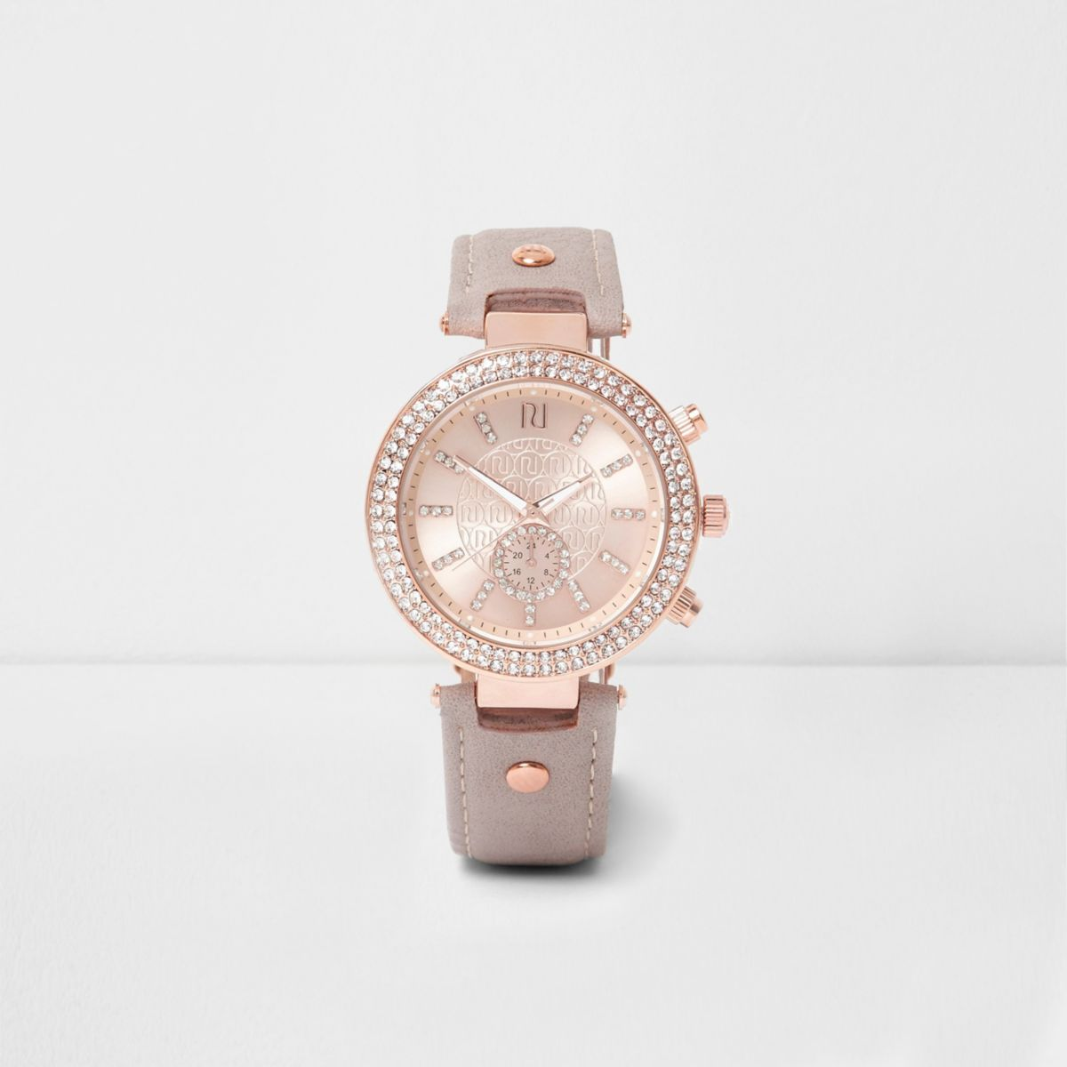 Plus grey and rose gold tone diamante watch