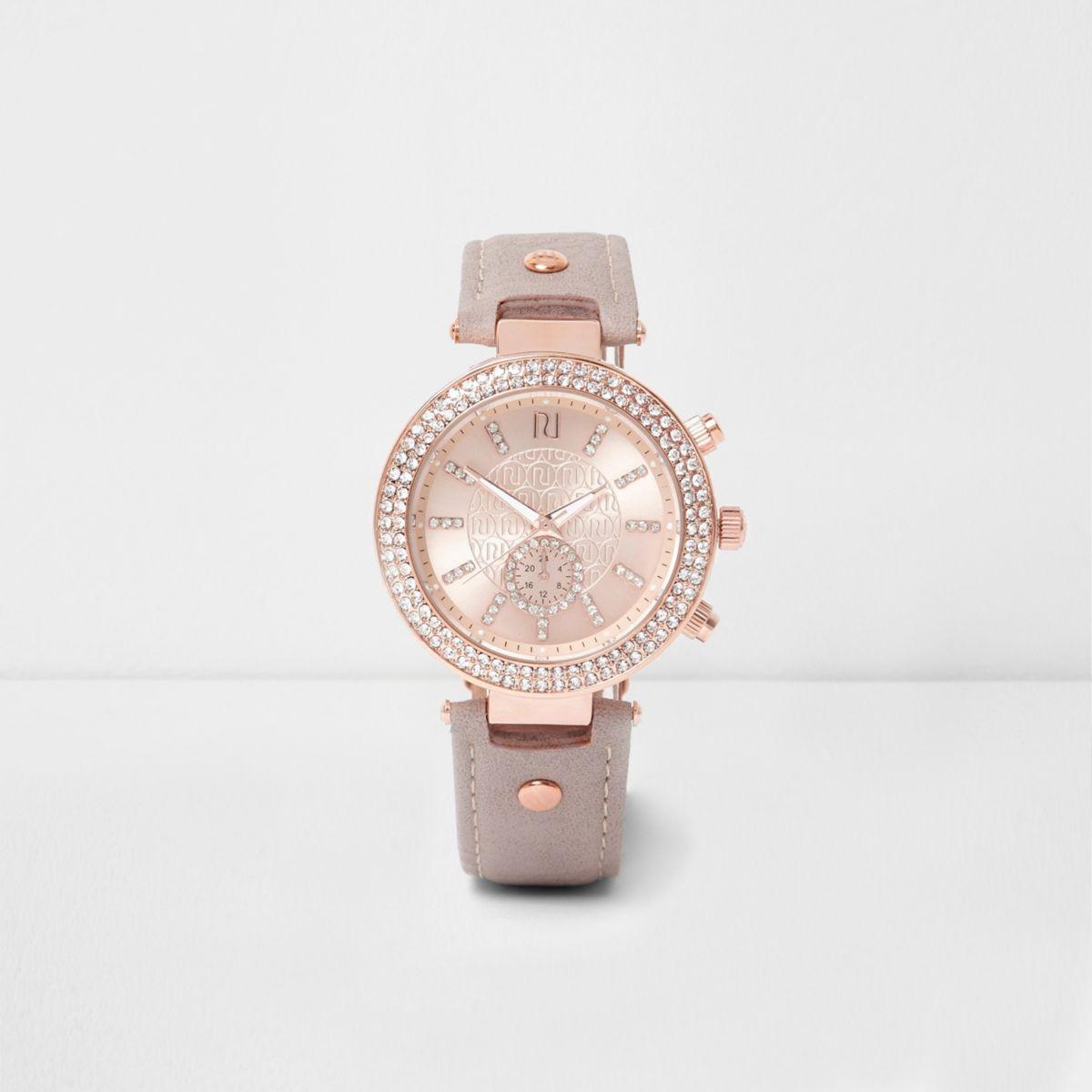 Plus grey and rose gold tone rhinestone watch