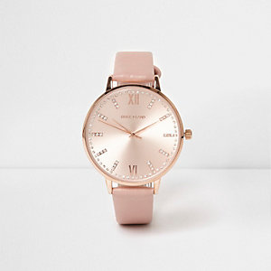 Pink rose gold tone round watch