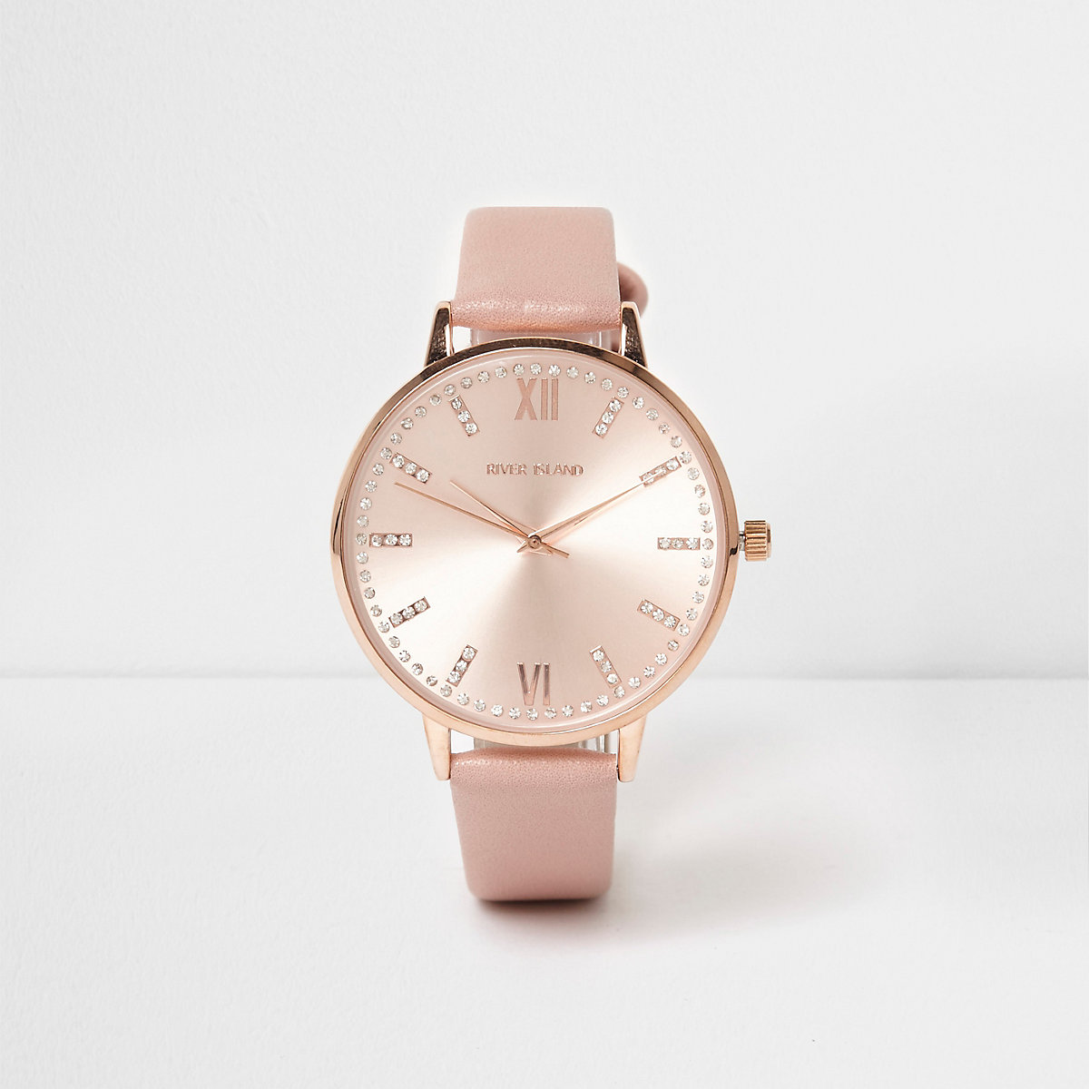 Pink rose gold tone round watch