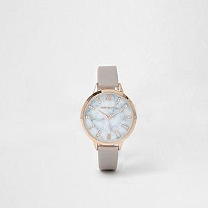 RI Plus - Grijs horloge met marmer wijzerplaat