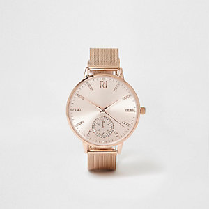 Rose gold tone mesh strap watch