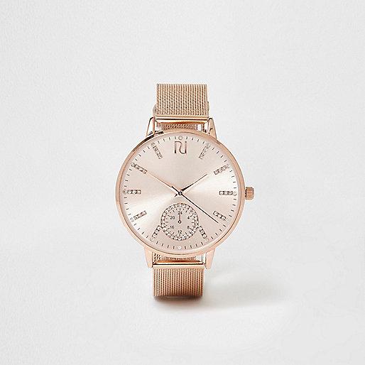 Rose gold tone mesh strap watch