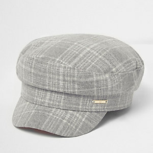 Grey herringbone check baker boy hat