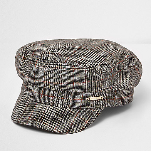 Brown check baker boy hat