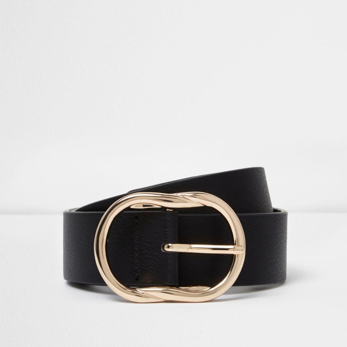 Zwarte jeansriem met ovalen gesp