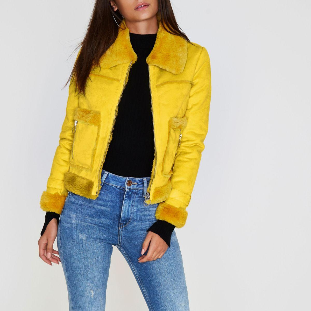 Yellow faux shearling trucker jacket