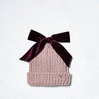 Light pink velvet bow top knit beanie hat