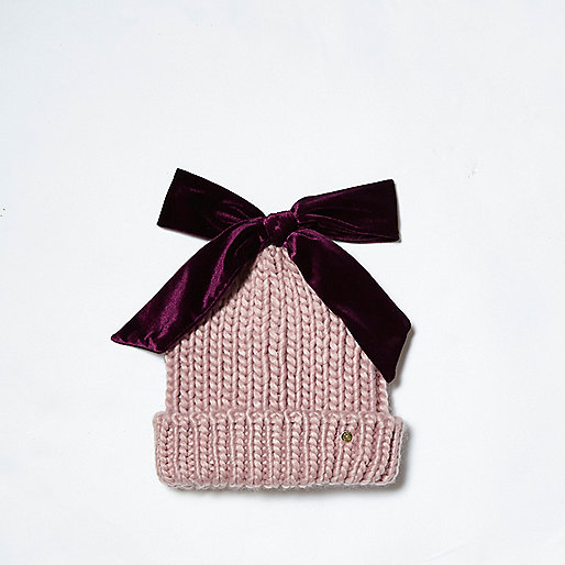 Light pink velvet bow top knit beanie hat