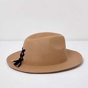 Camel lace-up detail fedora hat