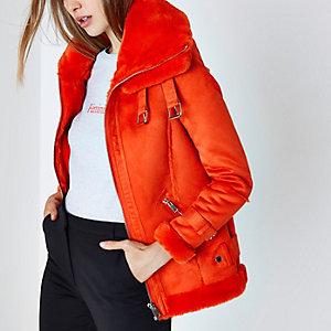 Bright orange faux fur trim aviator jacket