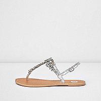 Silver metallic rhinestone sandals