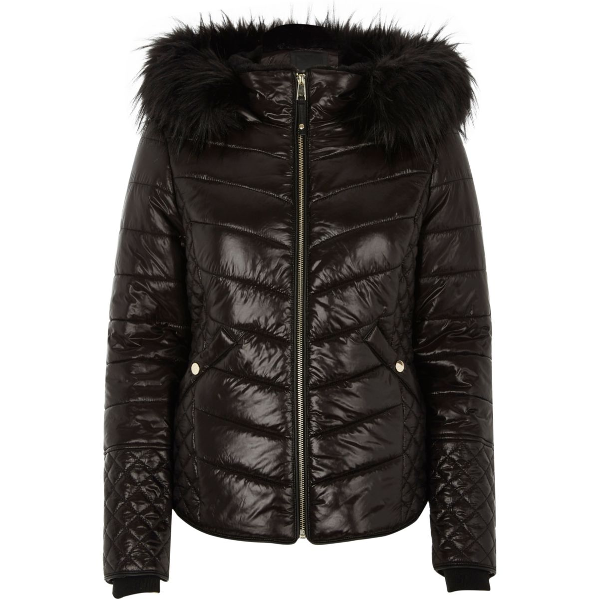 Black high shine hooded quilted jacket
