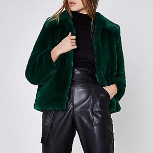 Green faux fur puffball coat