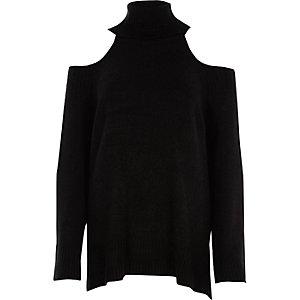 Pull noir à col montant et épaules dénudées