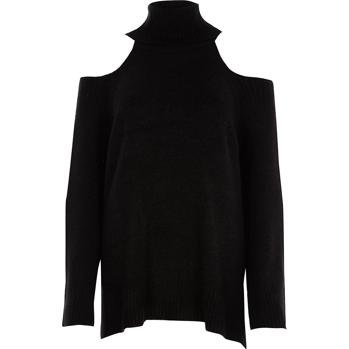 Black roll neck cold shoulder jumper