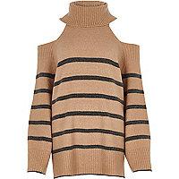 Beige stripe roll neck cold shoulder sweater